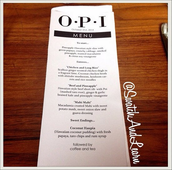 OPI Hawaii Collection Media Launch Menu