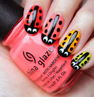 Ladybug Nail Art Neon - Nail Art: Neon Ladybug Nails Swatch And Learn