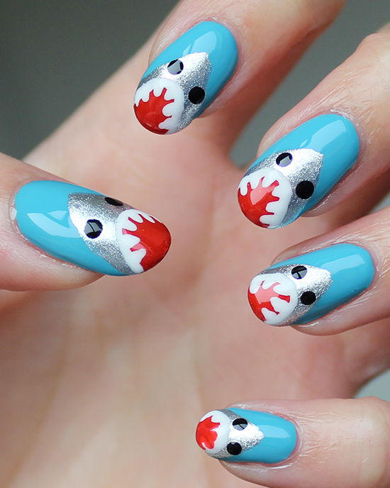 Shark Week Nails Nail Art