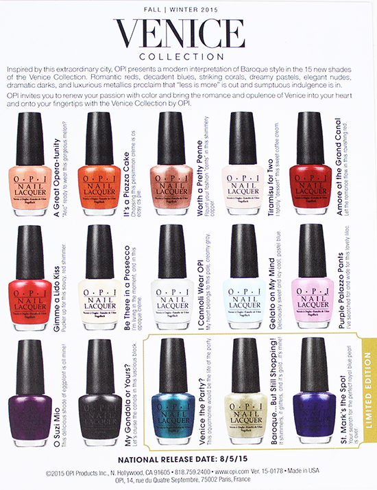 OPI Venice Collection Fall:Winter 2015