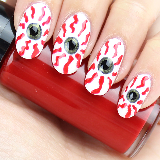 Bloodshot Eyes Nail Art