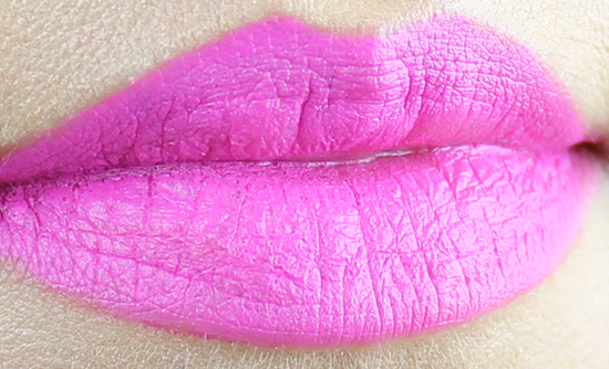 Maybelline Creamy Mattes Lipstick Electric Pink Swatch