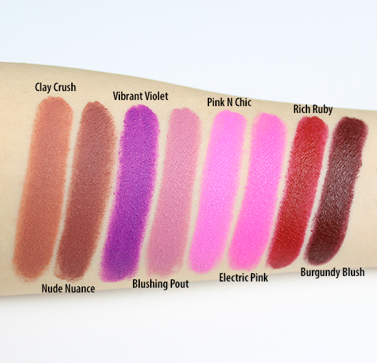 Maybelline Creamy Mattes Lipsticks Swatches