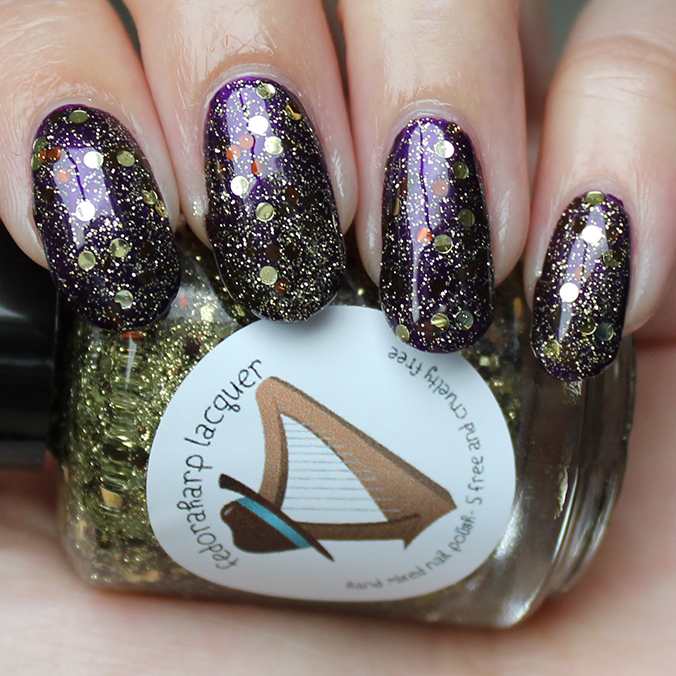 Fedoraharp Lacquer Review Chocolate Gold Rush Swatches