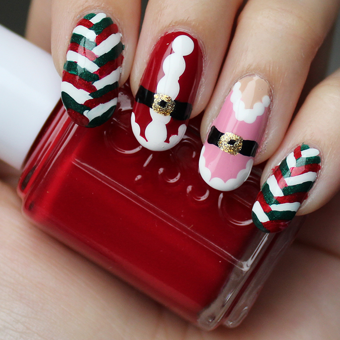 Christmas Mr & Mrs Claus Nails