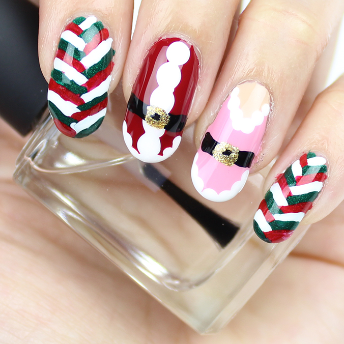 Freehand Christmas Nail Art