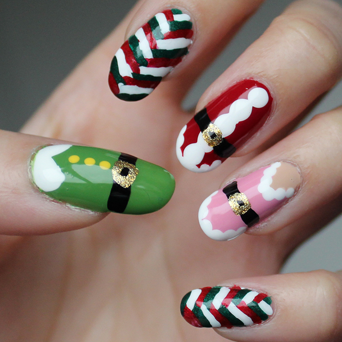 Freehand Christmas NailArt