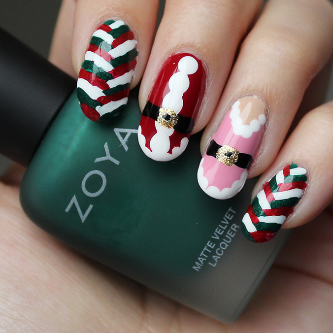 Freehand Holiday Nail Art