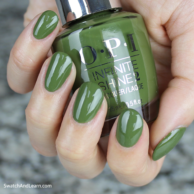 OPI Infinite Shine Olive for Green Swatches Review
