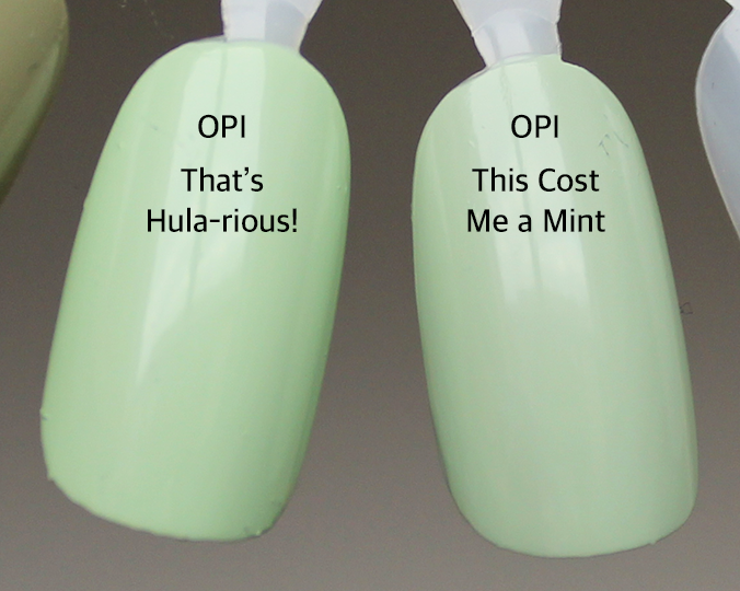 OPI That's Hula-rious vs OPI This Cost Me a Mint