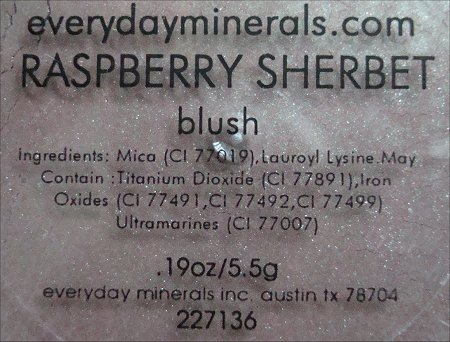 Everyday Minerals Raspberry Sherbet Blush Ingredients