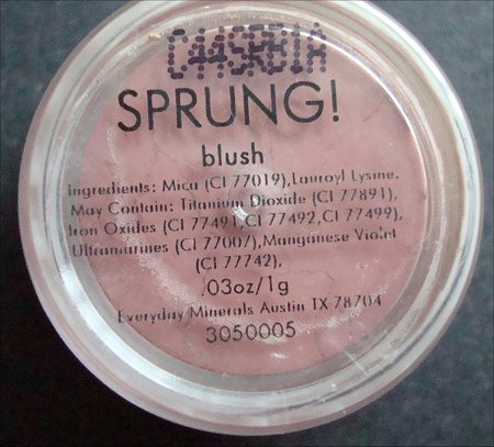Everyday Minerals Sprung! Blush Ingredients