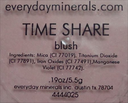 Everyday Minerals Time Share Blush Ingredients