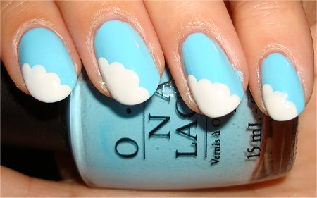 Cloud &amp; Rainbow Nail Art Tutorial Step 2