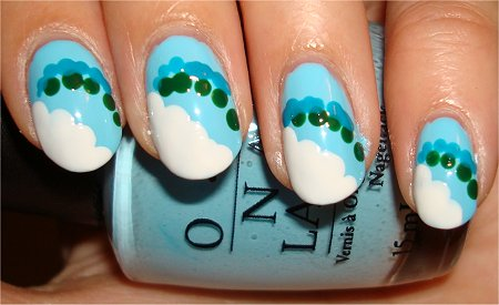 Cloud &amp; Rainbow Nail Art Tutorial Step 4