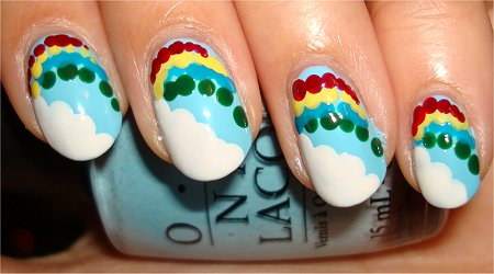Cloud &amp; Rainbow Nail Art Tutorial Step 5
