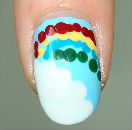Flash Cloud Rainbow Nails Nail Art Tutorial & Picture