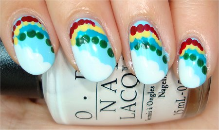 Flash Clouds & Rainbow Nails Nail Art Tutorial & Pictures
