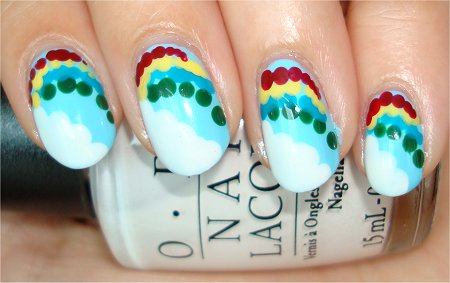 Flash Nail Art Rainbow Nails How to Tutorial & Pictures