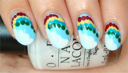 Flash Rainbow &amp; Cloud Nail Art Tutorial &amp; Swatches