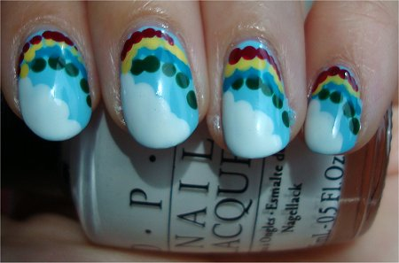 Natural Light Cloud &amp; Rainbow Nail Art Tutorial &amp; Swatch