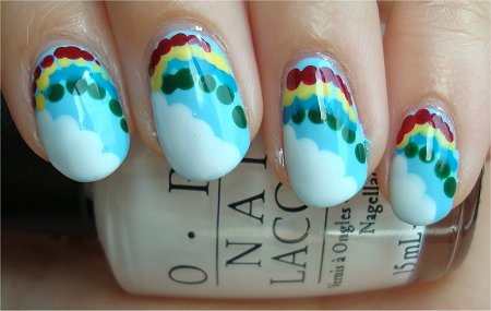 Natural Light Cloud &amp; Rainbow Nails Nail Art Tutorial &amp; Pics