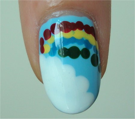 Natural Light Rainbow and Cloud Nail Art Tutorial