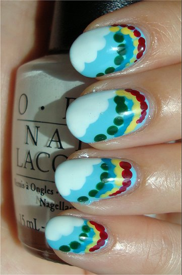 Rainbow &amp; Cloud Nail Art Tutorial &amp; Swatches