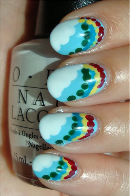 Rainbow & Cloud Nail Art Tutorial & Swatches
