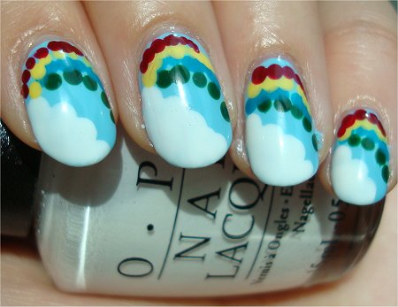 Sunlight Cloud & Rainbow Nail Art Tutorial & Pictures