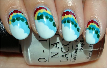 Sunlight Cloud & Rainbow Nails Nail Art Tutorial & Swatches