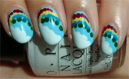 Sunlight Rainbow & Cloud Nails Nail Art Tutorial & Step-by-Step Photos